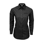 Ladies Black Tonal Pattern Long Sleeve Shirt-