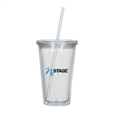Madison Double Wall Clear Tumbler w/Straw 16oz-