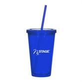 NxStage Madison Double Wall Blue Tumbler w/Straw 16oz-