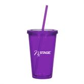 NxStage Madison Double Wall Purple Tumbler w/Straw 16oz-