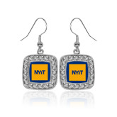 Crystal Studded Square Pendant Silver Dangle Earrings-NYIT Logo