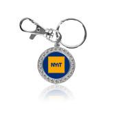 Crystal Studded Round Key Chain-NYIT Logo