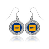 Crystal Studded Round Pendant Silver Dangle Earrings-NYIT Logo