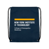 Navy Drawstring Backpack-NYIT College of Osteopathic Medicine - Horiontal