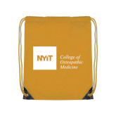 Gold Drawstring Backpack-NYIT College of Osteopathic Medicine - Horizontal