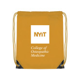 Gold Drawstring Backpack-NYIT College of Osteopathic Medicine - Vertical
