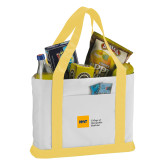Contender White/Gold Canvas Tote-NYIT College of Osteopathic Medicine - Horizontal