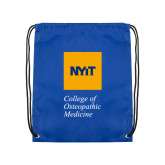Royal Drawstring Backpack-NYIT College of Osteopathic Medicine - Vertical
