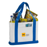 Contender White/Royal Canvas Tote-NYIT College of Osteopathic Medicine - Horizontal