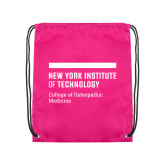 Pink Drawstring Backpack-NYIT College of Osteopathic Medicine - Horiontal