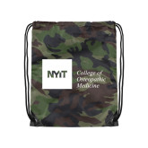 Camo Drawstring Backpack-NYIT College of Osteopathic Medicine - Horizontal