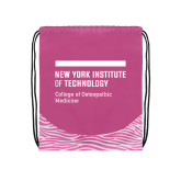 Nylon Zebra Pink/White Patterned Drawstring Backpack-NYIT College of Osteopathic Medicine - Horiontal