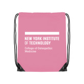 Light Pink Drawstring Backpack-NYIT College of Osteopathic Medicine - Horiontal