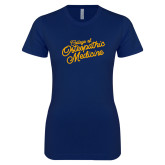 Next Level Ladies SoftStyle Junior Fitted Navy Tee-Script