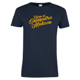 Ladies Navy T Shirt-Script