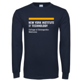 Navy Long Sleeve T Shirt-NYIT College of Osteopathic Medicine - Horiontal