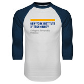 White/Navy Raglan Baseball T Shirt-NYIT College of Osteopathic Medicine - Horiontal