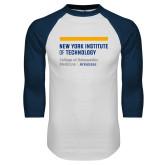 White/Navy Raglan Baseball T Shirt-College of Osteopathic Medicine at Arkansas