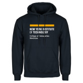 Navy Fleece Hoodie-NYIT College of Osteopathic Medicine - Horiontal