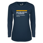 Ladies Syntrel Performance Navy Longsleeve Shirt-NYIT College of Osteopathic Medicine - Horiontal