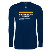 Under Armour Navy Long Sleeve Tech Tee-NYIT College of Osteopathic Medicine - Horiontal