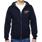Navy Fleece Full Zip Hoodie-NYIT College of Osteopathic Medicine - Horiontal