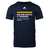 Adidas Navy Logo T Shirt-NYIT College of Osteopathic Medicine - Horiontal