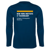 Performance Navy Longsleeve Shirt-NYIT College of Osteopathic Medicine - Horiontal