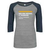 ENZA Ladies Athletic Heather/Navy Vintage Baseball Tee-NYIT College of Osteopathic Medicine - Horiontal