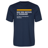 Performance Navy Tee-NYIT College of Osteopathic Medicine - Horiontal
