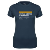 Ladies Syntrel Performance Navy Tee-NYIT College of Osteopathic Medicine - Horiontal