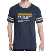 Navy Heather/Grey Tri Blend Varsity Tee-NYIT College of Osteopathic Medicine - Horiontal