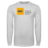 White Long Sleeve T Shirt-NYIT College of Osteopathic Medicine - Horizontal