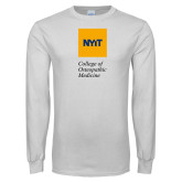 White Long Sleeve T Shirt-NYIT College of Osteopathic Medicine - Vertical