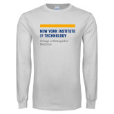 White Long Sleeve T Shirt-NYIT College of Osteopathic Medicine - Horiontal