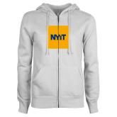 ENZA Ladies White Fleece Full Zip Hoodie-NYIT Logo