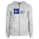 ENZA Ladies White Fleece Full Zip Hoodie-H Dark Blue Glitter