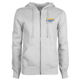 ENZA Ladies White Fleece Full Zip Hoodie-NYIT College of Osteopathic Medicine - Horiontal