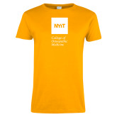 Ladies Gold T Shirt-NYIT College of Osteopathic Medicine - Vertical