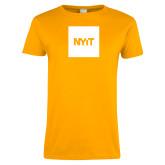 Ladies Gold T Shirt-NYIT Logo