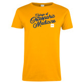 Ladies Gold T Shirt-Script