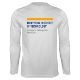 Performance White Longsleeve Shirt-NYIT College of Osteopathic Medicine - Horiontal
