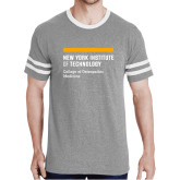 Grey Heather/White Tri Blend Varsity Tee-NYIT College of Osteopathic Medicine - Horiontal
