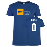 Ladies Royal T Shirt-NYIT College of Osteopathic Medicine - Horizontal, Custom tee w/ name and #