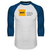 White/Royal Raglan Baseball T Shirt-NYIT College of Osteopathic Medicine - Horizontal
