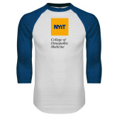 White/Royal Raglan Baseball T Shirt-NYIT College of Osteopathic Medicine - Vertical