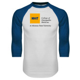 White/Royal Raglan Baseball T Shirt-College of Osteopathic Medicine at Arkansas