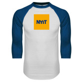 White/Royal Raglan Baseball T Shirt-NYIT Logo