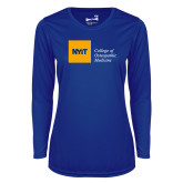 Ladies Syntrel Performance Royal Longsleeve Shirt-NYIT College of Osteopathic Medicine - Horizontal