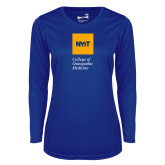 Ladies Syntrel Performance Royal Longsleeve Shirt-NYIT College of Osteopathic Medicine - Vertical